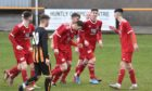 Deveronvale celebrate Kyle Gauld's goal in the second minute at Christie Park