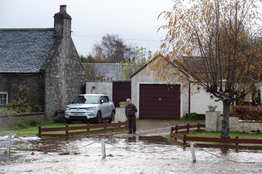 Flooding in Garmouth following heavy rain.