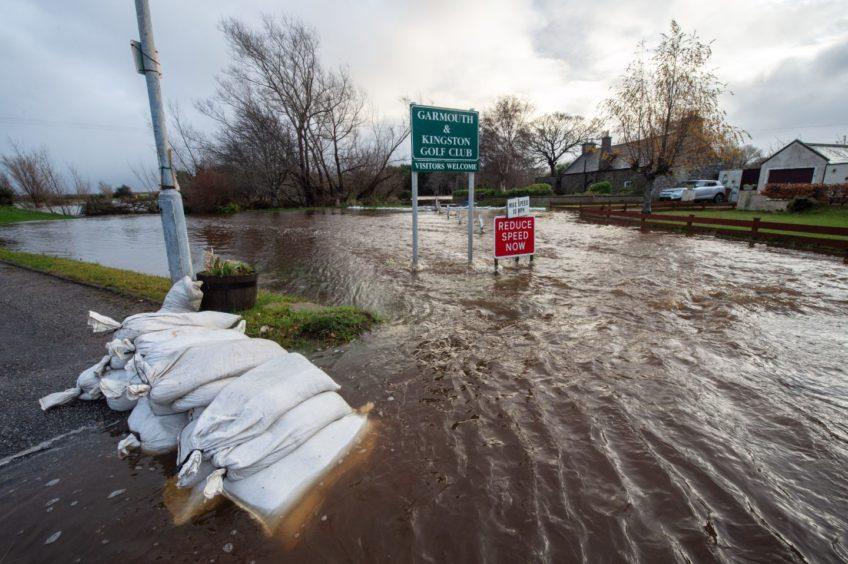 Flooding in Garmouth following heavy rainfall.
