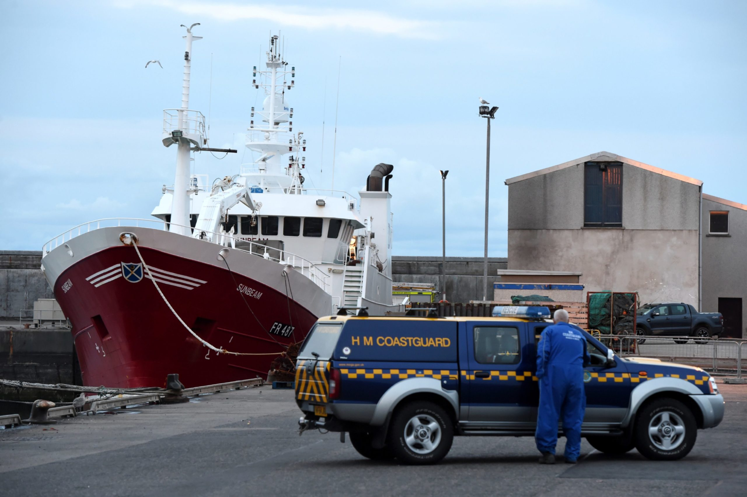 Emergency crews at the scene of the Fraserburgh trawler Sunbeam where William Ironside died in August 2018.