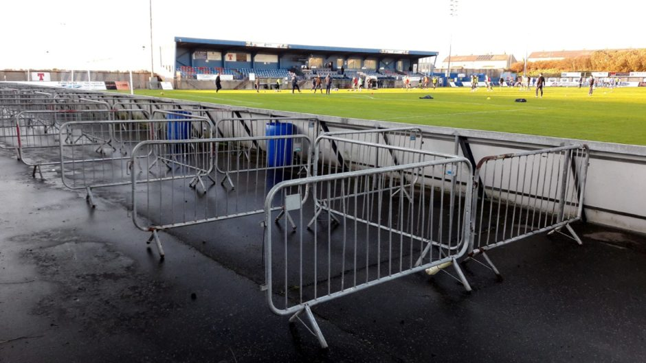 Peterhead have set up safety barriers to prepare for the return of fans.