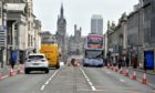 A bus amid the Covid physical distancing measures in Union Street, Aberdeen.