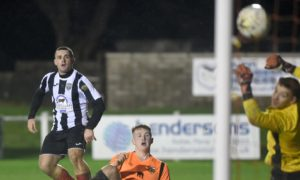 Fraserburgh's Scott Barbour scoring against Rothes.