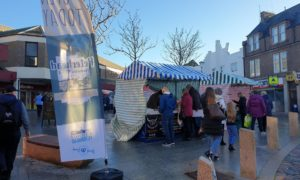 Peterhead's first producers market in Drummers Corner.