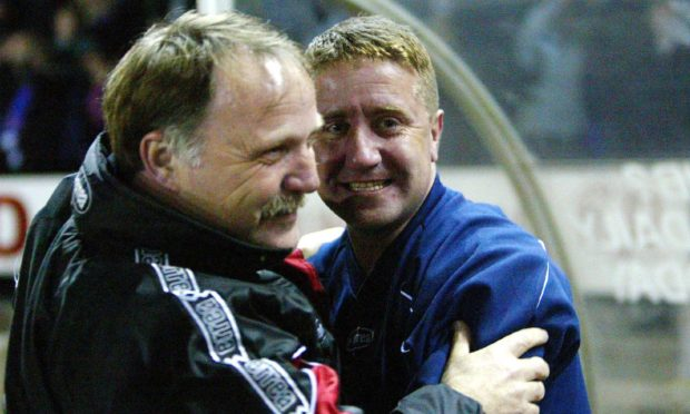 Donald Park and John Robertson after beating Celtic in 2003.