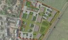 A layout map of the planned housing development east of Falkland Avenue, Cove, Aberdeen.