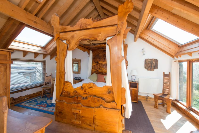 The Tim Stead Trust wishes to purchase the artist's home in the Borders, called The Steading, for the benefit of the nation. The spectacular bedroom of the property is host to a handmade bed.