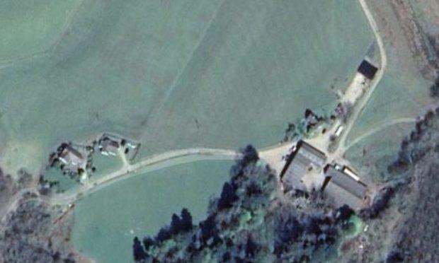 A satellite image of Turnalt Farm, where a quad bike crash caused the death of Lochgilphead farmer Iain MacNicol.