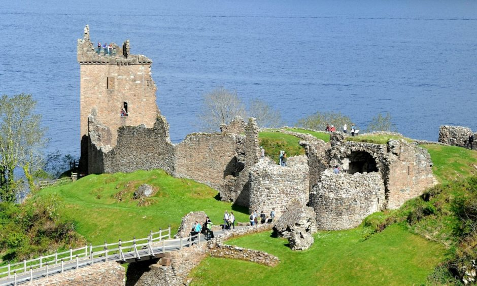 Urquhart Castle on the shore of Loch Ness, which was criticised in a tourist review for not hosting regattas.