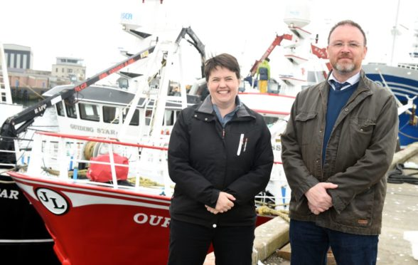 David Duguid and Ruth Davidson visit the fish market, Peterhead harbour, Peterhead. Picture by Jim Irvine  10-5-17