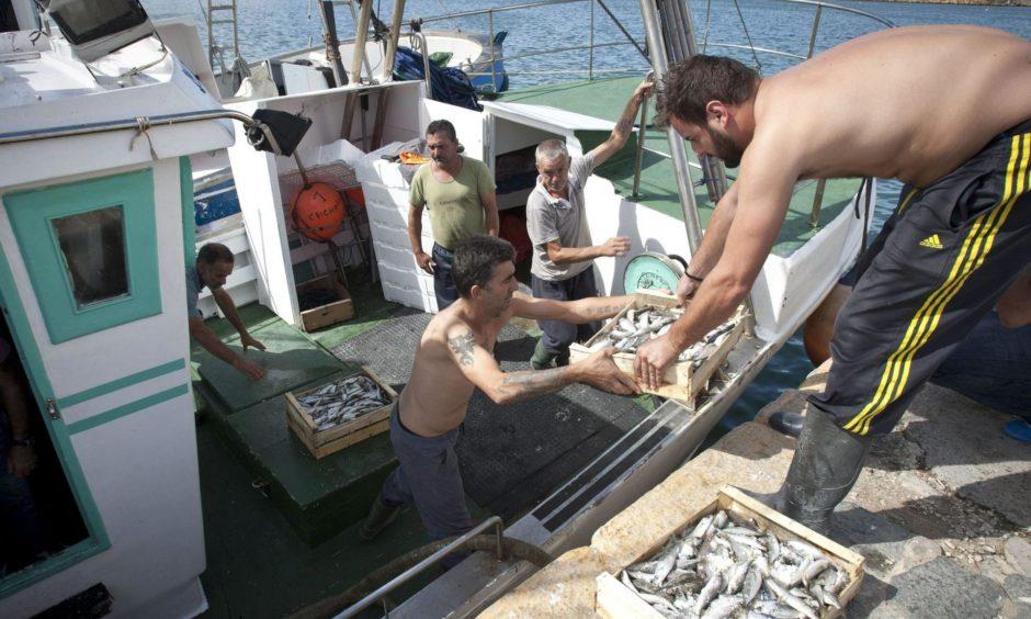 Spanish fishermen returning to port.