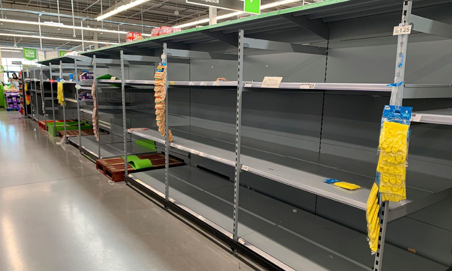 Empty shelves in an Asda store in Chorley.