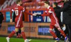 Aberdeen's Scott Wright comes on for Niall McGinn against Dundee United.