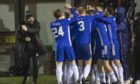Cove Rangers celebrate Ryan Strachan making it 3-2 in the last minute to send them through.