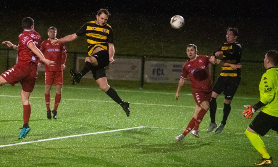 Mark Nicolson makes it 2-1 Brora during the Scottish Cup first round match between Camelon Juniors and Brora Rangers.