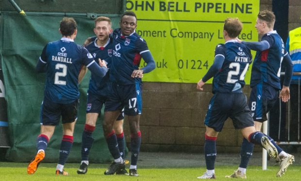 Ross County celebrate Charlie Lakin's goal against Aberdeen in January.