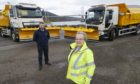 Councillor Trish Robertson checking out delivery of 10 new snow ploughs for Highland