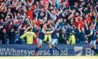 Scotland's Leigh Griffiths celebrates after scoring a free-kick to put his side ahead against England in 2017.
