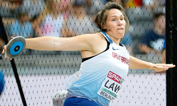Highland athlete Kirsty Law competes in the women's discus throw qualification at the 2018 European Championships.