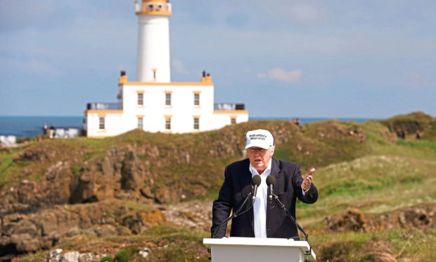 Donald Trump at his Trump Turnberry golf course in South Ayrshire.