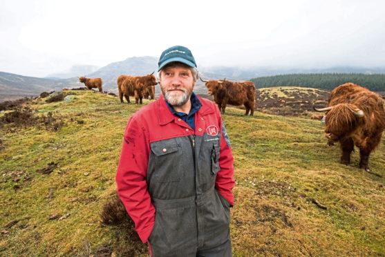 NFUS president elect Martin Kennedy on his farm near Aberfeldy.