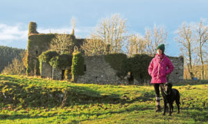 Gayle Ritchie explores Gight Castle near Methlick in Aberdeenshire with her dog, Toby.