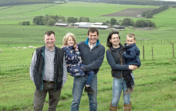 Event chairman Willy Millar, with hosts Robert and Hazel McNee and their children, Kate and Alan.