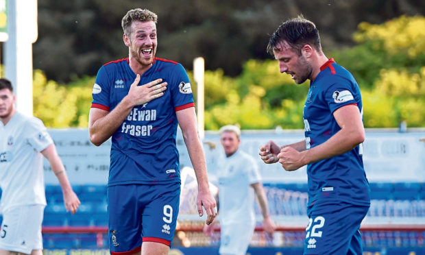 Jordan White (left) during his spell with Inverness.