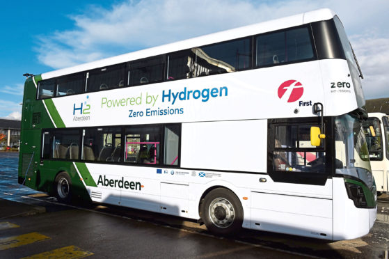 First Aberdeen's new hydrogen double-decker bus. Picture by Kenny Elrick