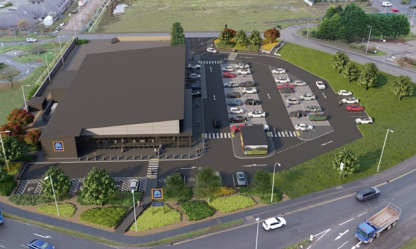 A birds-eye view of the proposed site of the new Aldi supermarket in Altens, Aberdeen.