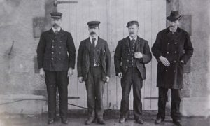Thomas Marshall, James Ducat and Donald McArthur with superintendent Robert Muirhead before the disappearance.