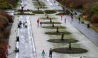 Seaton Park, on January 5, 2021 was so frozen some people used ice skates to get about.