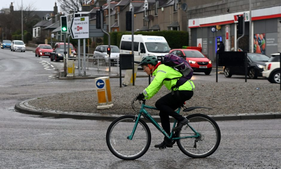 The roundabout in King Street, at the bottom of St Machar Drive, could be replaced with traffic lights to make it safer for cyclists.