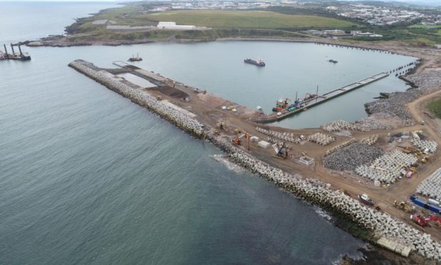 Councillors could commit nearly £10m to building transport links to the new Aberdeen South harbour, pictured in September.