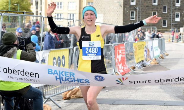 Fiona Brian winning the Baker Hughes 10K in 2019. Picture by Kenny Elrick