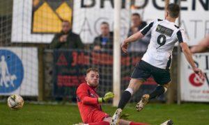 Turriff United goalkeeper and captain Fraser Hobday, left