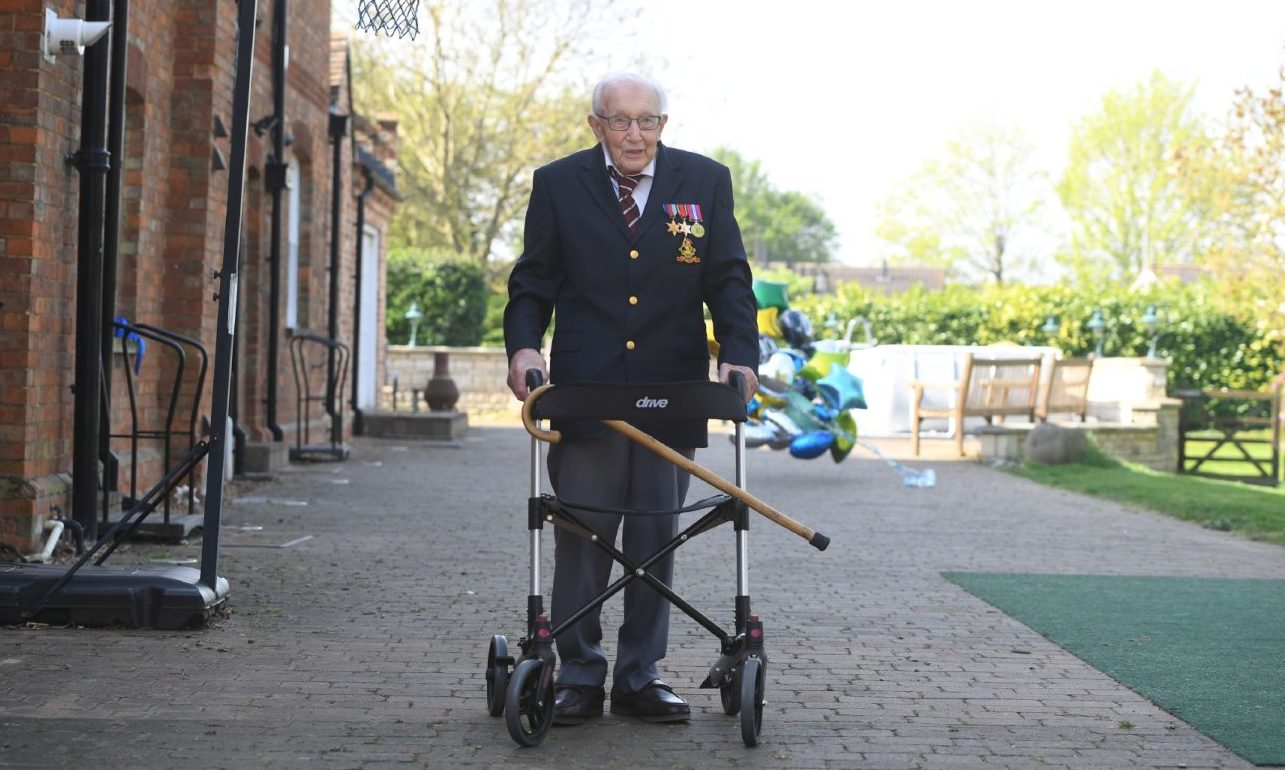 99-year-old war veteran Captain Tom Moore at his home in Bedfordshire, after completing 100 laps of his garden.