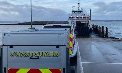 Coastguard crews on the Western Isles wait to board a ferry with coronavirus tests.