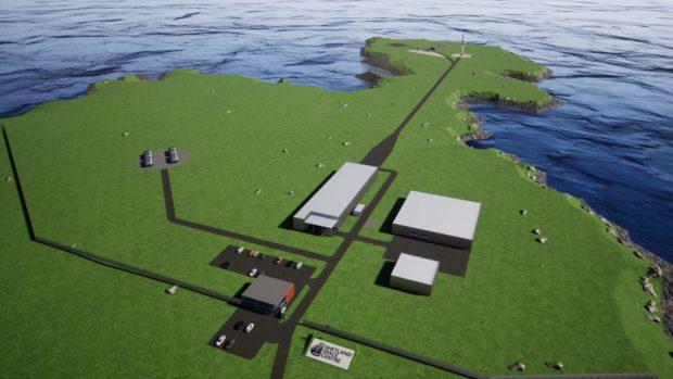 An artist's impression of the proposed space centre on Shetland.