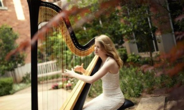 Concert harpist and music therapist Mary Page