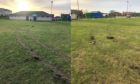 To go with story by Rebekah McVey. Mill Park pitch was damaged by tyre tracks. Picture shows; Mill Park pitch (collage). Cruden Bay. Supplied by Hugh McIntyre Date; 16/01/2021