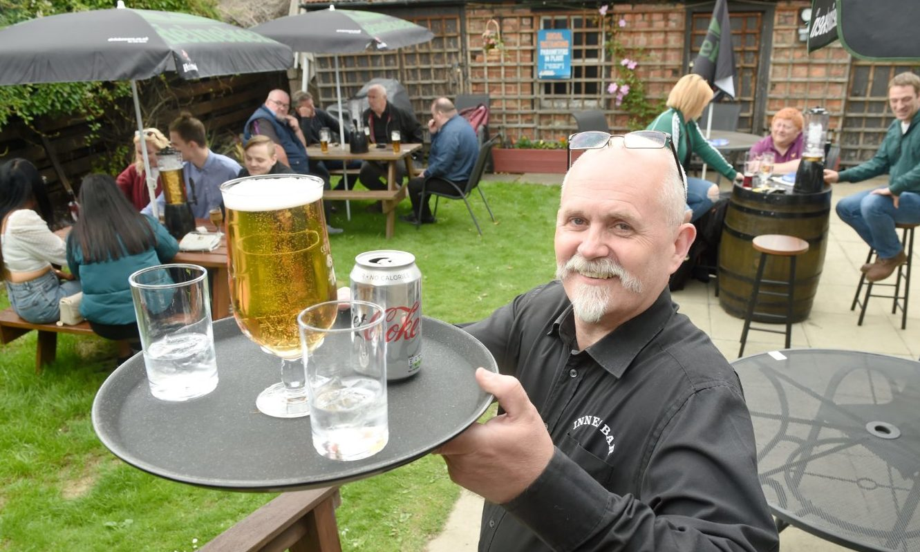 The Innes Bar in Innes Street, Inverness, was among the first to reopen with bar owner Craig MacLeod delighted to be open for business.