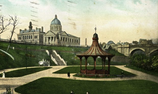 Union Terrace Garden as it was in the late 19th century, in a coloured postcard of the time.