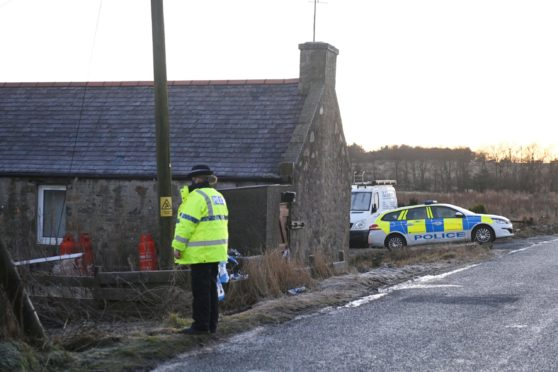 Police at the site near East Mains of Pitfour, Mintlaw. Picture by Paul Glendell