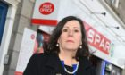 The Deputy Lord Provost Cllr Jennifer Stewart angry about the closure of the Post Office at Spar shop on Midstocket Road Aberdeen  Picture by Paul Glendell.