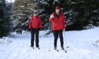 Zeiski and Nick May from Huntly, Cross country skiiing at Gartly Moor Near Huntly.