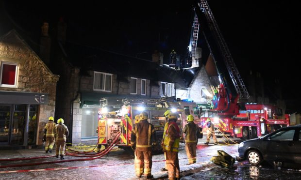 Firefighters tackle the blaze in Aboyne.
