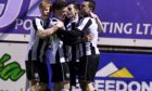 Scott Barbour celebrates after Fraserburgh's equaliser. Pic by Chris Sumner.