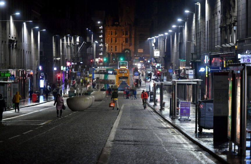 Union Street, Aberdeen. The stretch between Market Street and Bridge Street has been closed to motor traffic.
