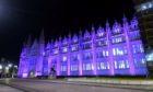 Marischal College illuminated purple to mark Holocaust Memorial Day.